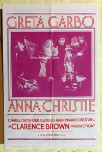 2r065 ANNA CHRISTIE one-sheet movie poster R62 Greta Garbo, Charles Bickford, George F. Marion