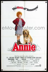 2r066 ANNIE one-sheet '82 photo of cute Aileen Quinn by Steve Steigman, from Harold Gray's comic!