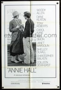 2r067 ANNIE HALL one-sheet poster '77 full-length Woody Allen & Diane Keaton, a nervous romance!