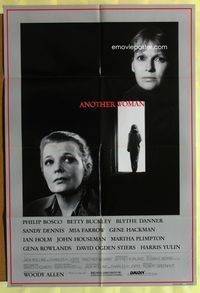 2r068 ANOTHER WOMAN one-sheet movie poster '88 Woody Allen, Gena Rowlands, Mia Farrow