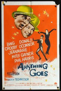 2r069 ANYTHING GOES one-sheet '56 Bing Crosby, Donald O'Connor, Jeanmarie, music by Cole Porter!