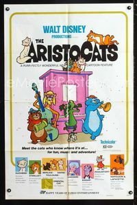 2r071 ARISTOCATS one-sheet movie poster R73 Walt Disney feline jazz musical cartoon, great image!