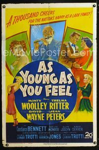 2r072 AS YOUNG AS YOU FEEL one-sheet '51 great art including young sexy Marilyn Monroe!