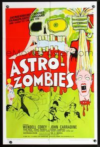 2r073 ASTRO-ZOMBIES 1sheet '68 great wild art of creature eating sexy girl & holding severed head!