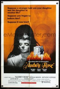 2r074 AUDREY ROSE one-sheet '77 Susan Swift, Anthony Hopkins, a haunting vision of reincarnation!