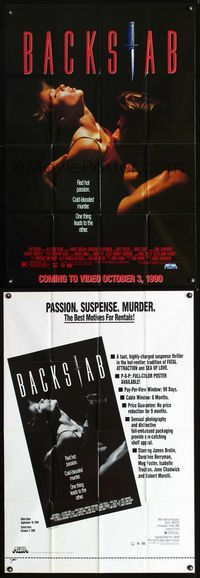 2r077 BACK STAB video advance one-sheet poster '90 Jim Kaufman, James Brolin, Dorothee Berryman