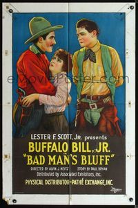 2r004 BAD MAN'S BLUFF 1sh '26 stone litho art of Buffalo Bill Jr. helpless as his girl is grabbed!