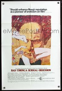 2r080 BAD TIMING A SENSUAL OBSESSION 1sh '80 Nicolas Roeg, Art Garfunkel, Theresa Russell, cool art