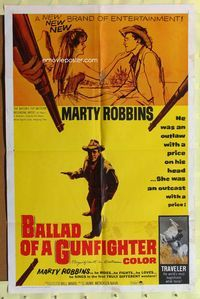 2r081 BALLAD OF A GUNFIGHTER one-sheet movie poster '63 Marty Robbins, Joyce Redd, Robert Barron
