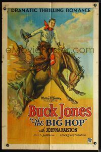 2r006 BIG HOP style A 1sheet '28 wonderful stone litho art of cowboy Buck Jones on rearing stallion!