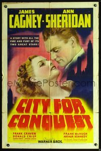 2r014 CITY FOR CONQUEST 1sh '40 great romantic art of boxer James Cagney & beautiful Ann Sheridan!