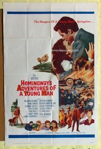 2r036 ADVENTURES OF A YOUNG MAN one-sheet movie poster '62 Ernest Hemingway, Paul Newman