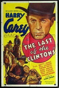 2r009 LAST OF THE CLINTONS one-sheet poster '35 cool art of cowboy Harry Carey, plus huge headshot!
