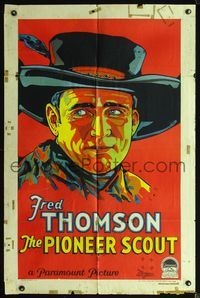 2r005 PIONEER SCOUT style A one-sheet '28 really colorful art of cowboy Fred Thompson in cool hat!