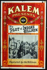 2r002 PLOT OF INDIA'S HILLMEN one-sheet '13 English soldiers captured, great Nouveau border art!