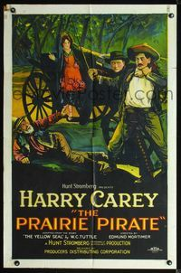 2r003 PRAIRIE PIRATE style A 1sh '25 great stone litho art of Harry Carey saving girl in carriage!
