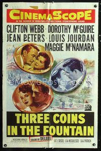 2r026 3 COINS IN THE FOUNTAIN 1sheet '54 Clifton Webb, Dorothy McGuire, Jean Peters, Louis Jourdan