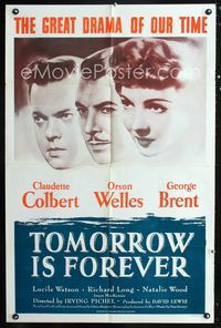 2r896 TOMORROW IS FOREVER one-sheet R53 Orson Welles, Claudette Colbert, George Brent, Irving Pichel