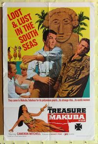 2r901 TREASURE OF MAKUBA one-sheet movie poster '67 Cameron Mitchell, loot & lust in the South Seas!