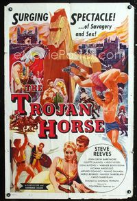 2r903 TROJAN HORSE one-sheet movie poster '62 Steve Reeves in a surging spectacle of savagery & sex!