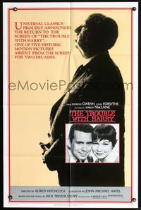 2r905 TROUBLE WITH HARRY 1sh R83 huge profile of Alfred Hitchcock, John Forsythe, Shirley MacLaine