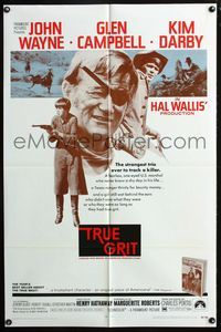 2r906 TRUE GRIT one-sheet movie poster '69 John Wayne as Rooster Cogburn, Kim Darby, Glen Campbell