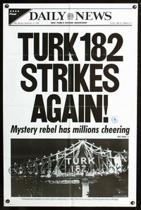 2r907 TURK 182 teaser one-sheet movie poster '85 cool New York Daily News newspaper mock-up!