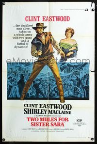 2r909 TWO MULES FOR SISTER SARA one-sheet '70 Clint Eastwood, Shirley MacLaine, Budd Boetticher