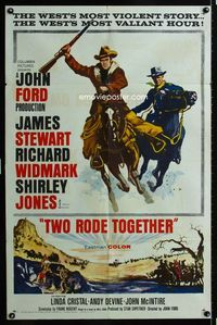 2r910 TWO RODE TOGETHER AA style one-sheet '60 John Ford, James Stewart & Richard Widmark ride!