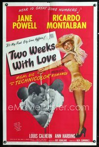2r911 TWO WEEKS WITH LOVE one-sheet '50 full-length art of sexy Jane Powell, Ricardo Montalban