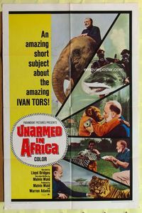 2r913 UNARMED IN AFRICA one-sheet movie poster '67 Ivan Tors, narrated by Lloyd Bridges