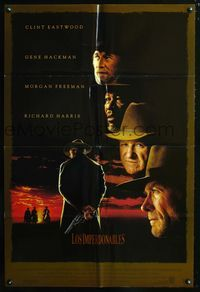 2r915 UNFORGIVEN Spanish/U.S. 1sheet '92 classic image of gunslinger Clint Eastwood with his back turned!
