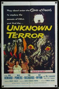 2r916 UNKNOWN TERROR 1sheet '57 they dared enter the Cave of Death to explore the secrets of HELL!