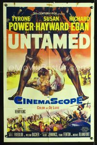 2r917 UNTAMED one-sheet '55 cool art of Tyrone Power & Susan Hayward in Africa with native tribe!
