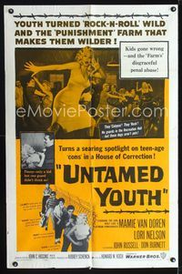 2r918 UNTAMED YOUTH one-sheet poster '57 art of sexy bad Mamie Van Doren in a Hosue of Correction!