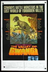 2r921 VALLEY OF GWANGI one-sheet poster '69 Ray Harryhausen, great artwork of cowboys vs dinosaurs!