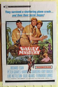 2r922 VALLEY OF MYSTERY one-sheet movie poster '67 Peter Graves, Lois Nettleton, Harry Guardino