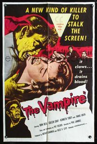 2r923 VAMPIRE linen 1sh '57 John Beal, it claws, it drains blood, cool art of monster & victim!