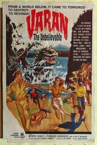 2r925 VARAN THE UNBELIEVABLE one-sheet '62 art of wacky dinosaur with hands destroying civilization!