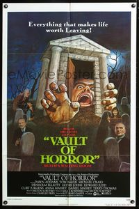 2r926 VAULT OF HORROR one-sheet '73 Tales from Crypt sequel, cool art of death's waiting room!