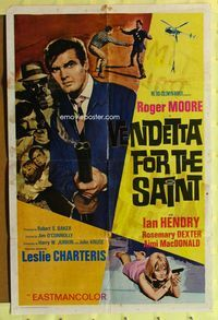 2r927 VENDETTA FOR THE SAINT one-sheet '69 Roger Moore with double-barrelled shotgun, English!