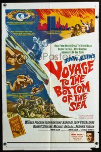 2r935 VOYAGE TO THE BOTTOM OF THE SEA 1sheet '61 Walter Pidgeon, cool art of scuba divers & monster!