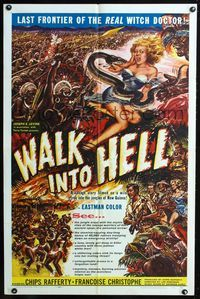 2r938 WALK INTO HELL one-sheet poster '57 great artwork of snake attacking sexy girl in the jungle!