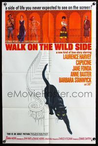 2r939 WALK ON THE WILD SIDE one-sheet movie poster '62 artwork of sexy Jane Fonda & black cat!
