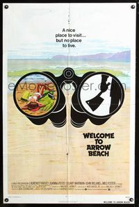 2r947 WELCOME TO ARROW BEACH 1sheet '74 cool art of binoculars with sexy girl & hand w/meat cleaver!