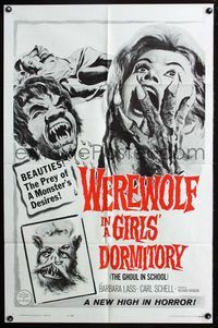 2r948 WEREWOLF IN A GIRLS' DORMITORY one-sheet '63 beauties are the prey of a monster's desires!