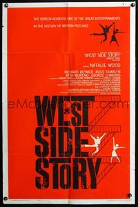 2r949 WEST SIDE STORY rare pre-Awards one-sheet '61 classic musical, wonderful artwork!