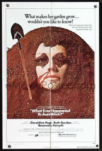 2r950 WHAT EVER HAPPENED TO AUNT ALICE? one-sheet '69 creepy horror image of woman buried in garden!