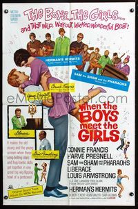 2r953 WHEN THE BOYS MEET THE GIRLS one-sheet movie poster '65 Connie Francis, Herman's Hermits!