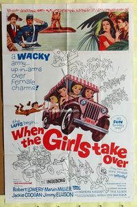 2r954 WHEN THE GIRLS TAKE OVER one-sheet poster '62 Robert Lowery, Jackie Coogan, James Ellison